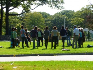 Group activity on the lawn